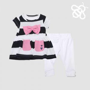 Navy /White Stripe Pink Bow Set